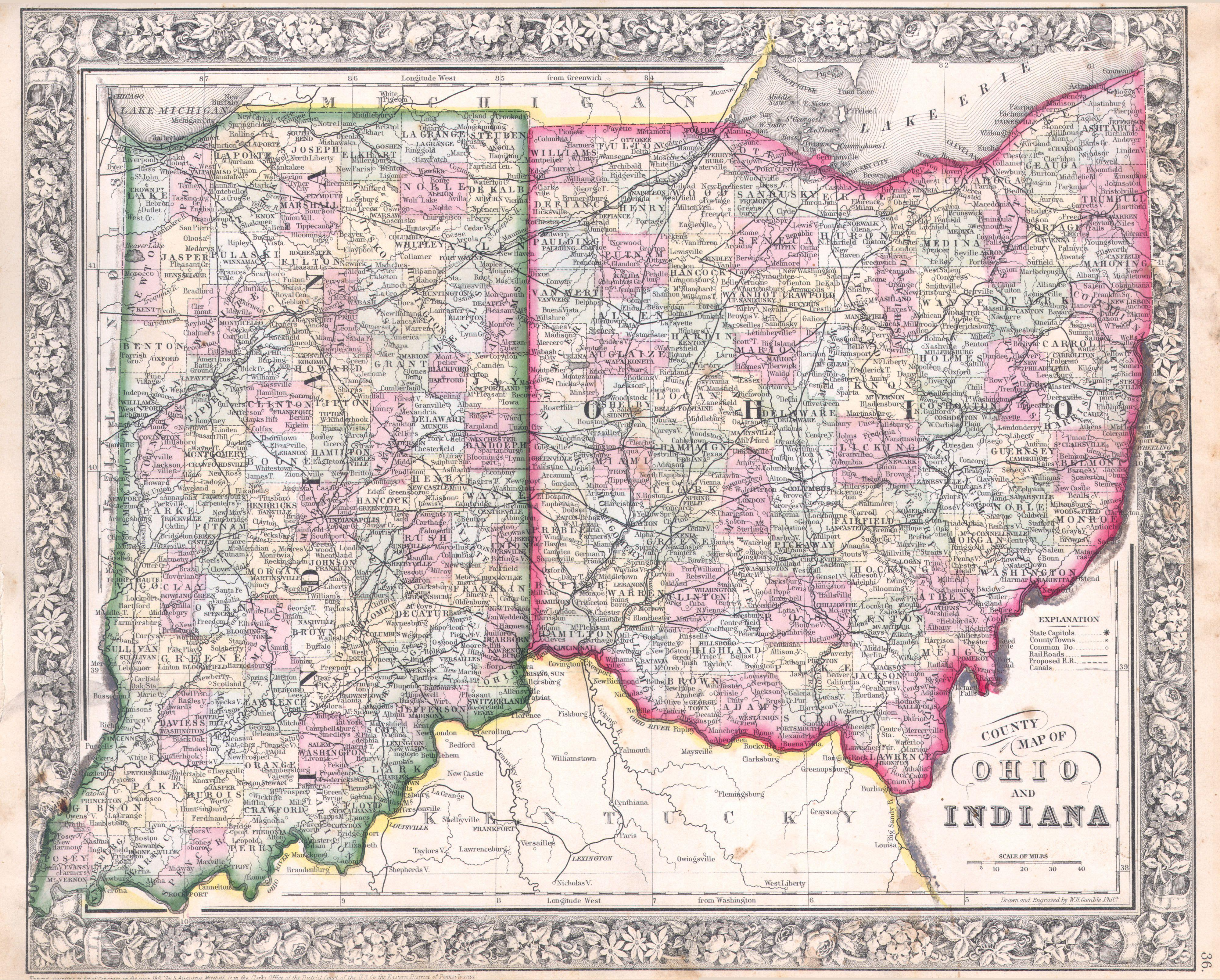 Map Of Indiana And Ohio File:1864 Mitchell Map of Ohio and Indiana   Geographicus   OHIN  Map Of Indiana And Ohio
