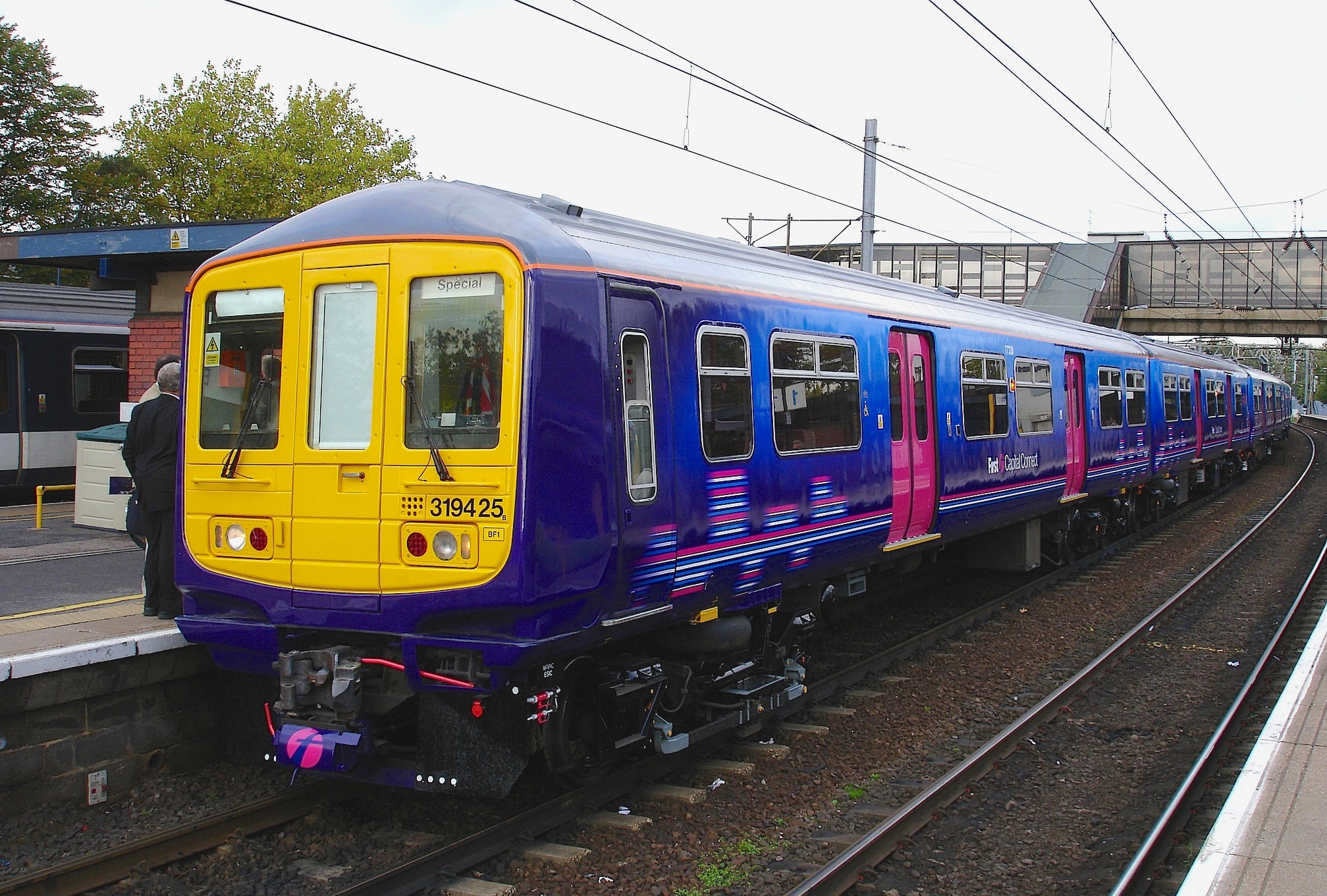 The first refurbished Class 319/4 for First Capital Connect was 319425,  seen here at Bedford