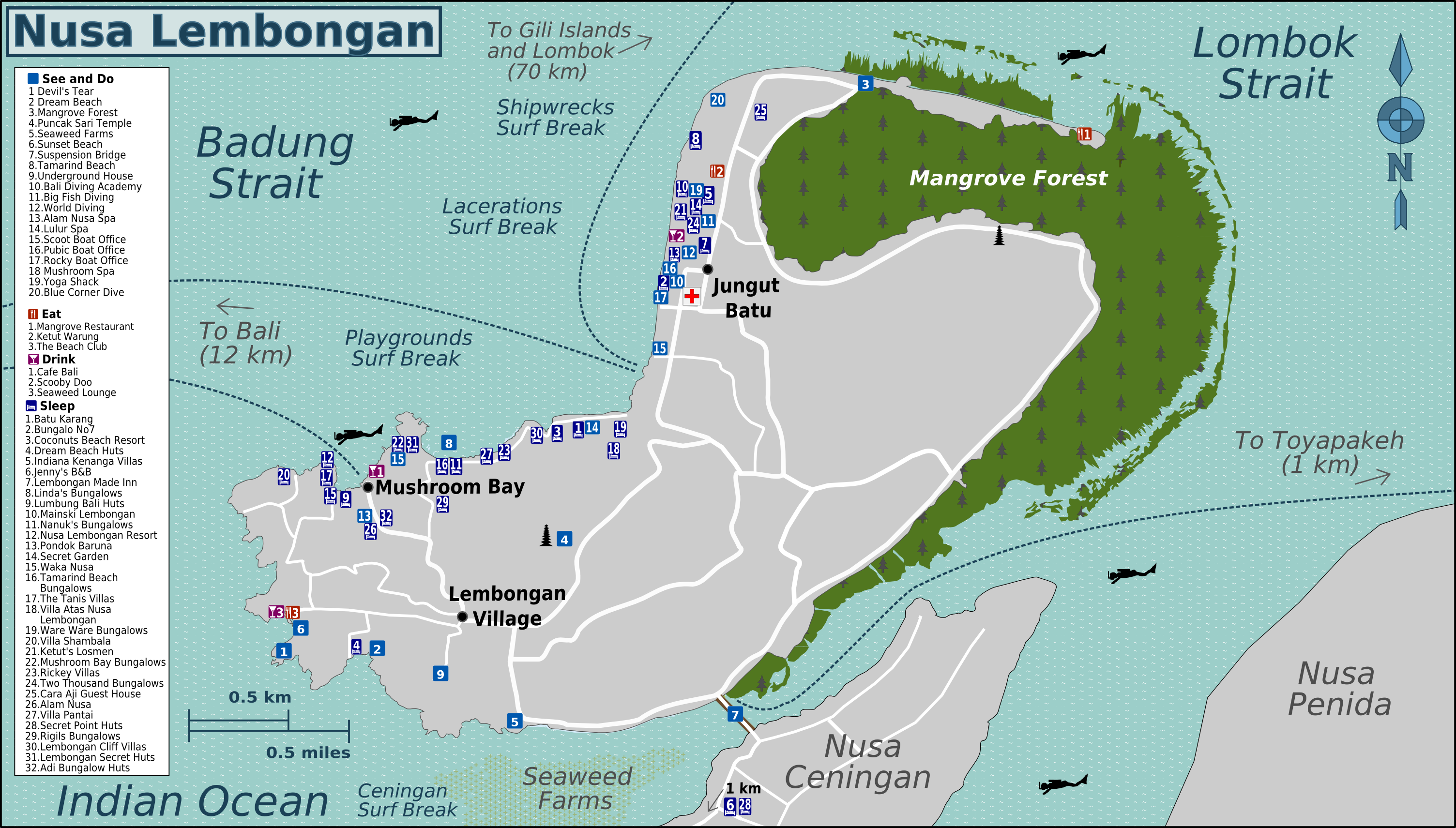 Nusa Lembongan Map File:Bali NusaLembongan Map.png   Wikimedia Commons