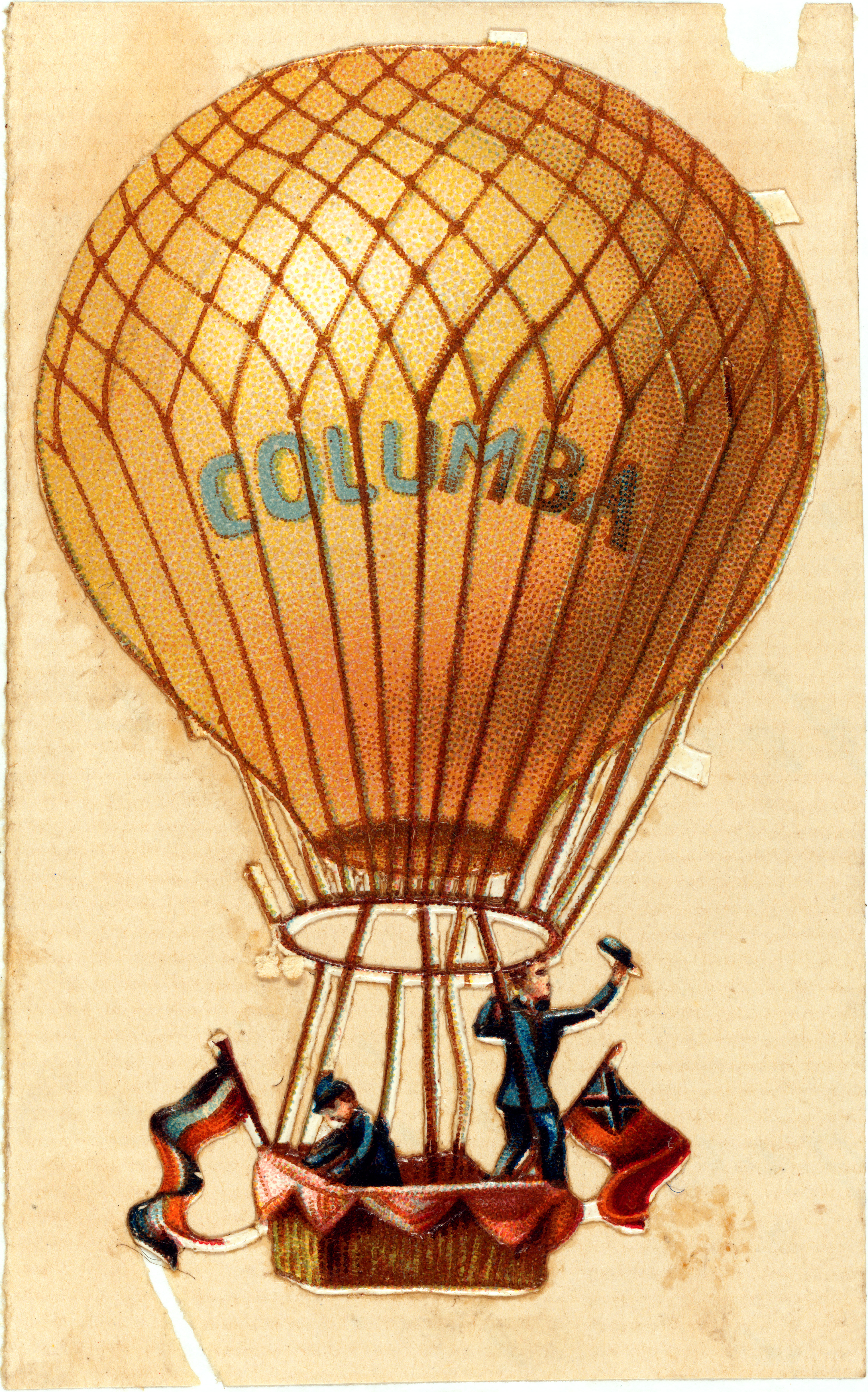 "File:Balloon ""Columba"" flying with two passengers, 1860 ..."