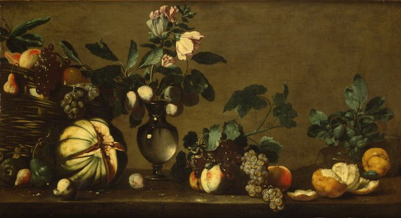 file bernardo strozzi nature morte avec une corbeille de fruits un vase de fleurs et des fruits. Black Bedroom Furniture Sets. Home Design Ideas