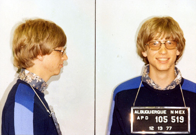 Mug shot of Bill Gates by the Albuquerque, New Mexico police,1977