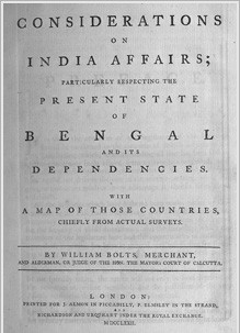 Bolts' book revealing the EIC's business practices in Bengal.