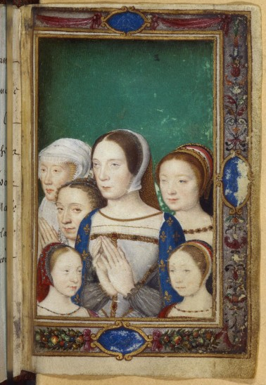 Madeleine (back right) with her mother and sisters, from the Book of Hours of Catherine de'Medici. Claude de France (1499-1524).jpg