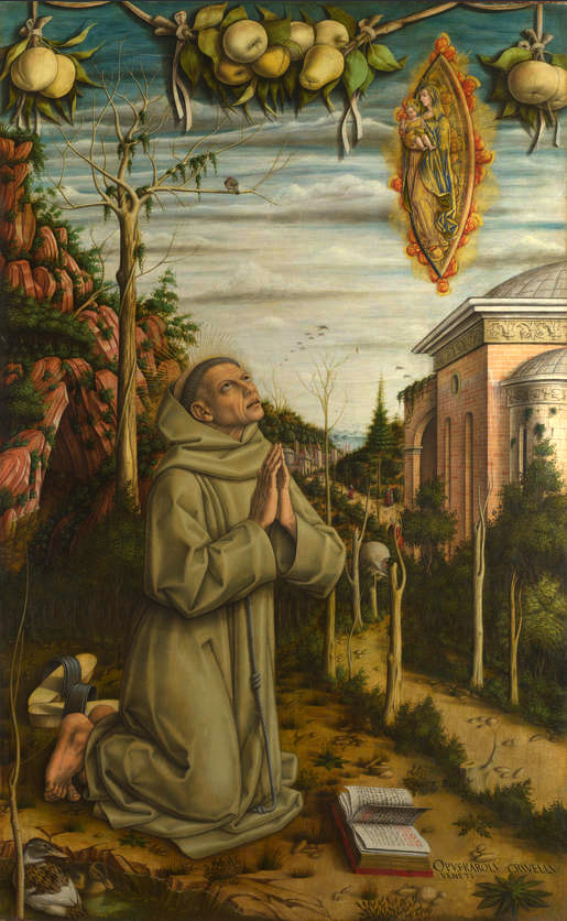 Carlo Crivelli (ca 1435-ca 1495): «Den salige Gabriel Ferretti i ekstase» plassert i hagene til klostret San Francesco ad Alto i Ancona (1480-t), National Gallery i London