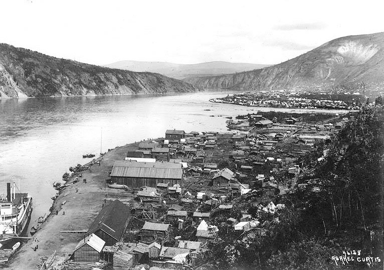 View of Klondike City and Dawson City, 1899. Yukon River left and Klondike River at upper right