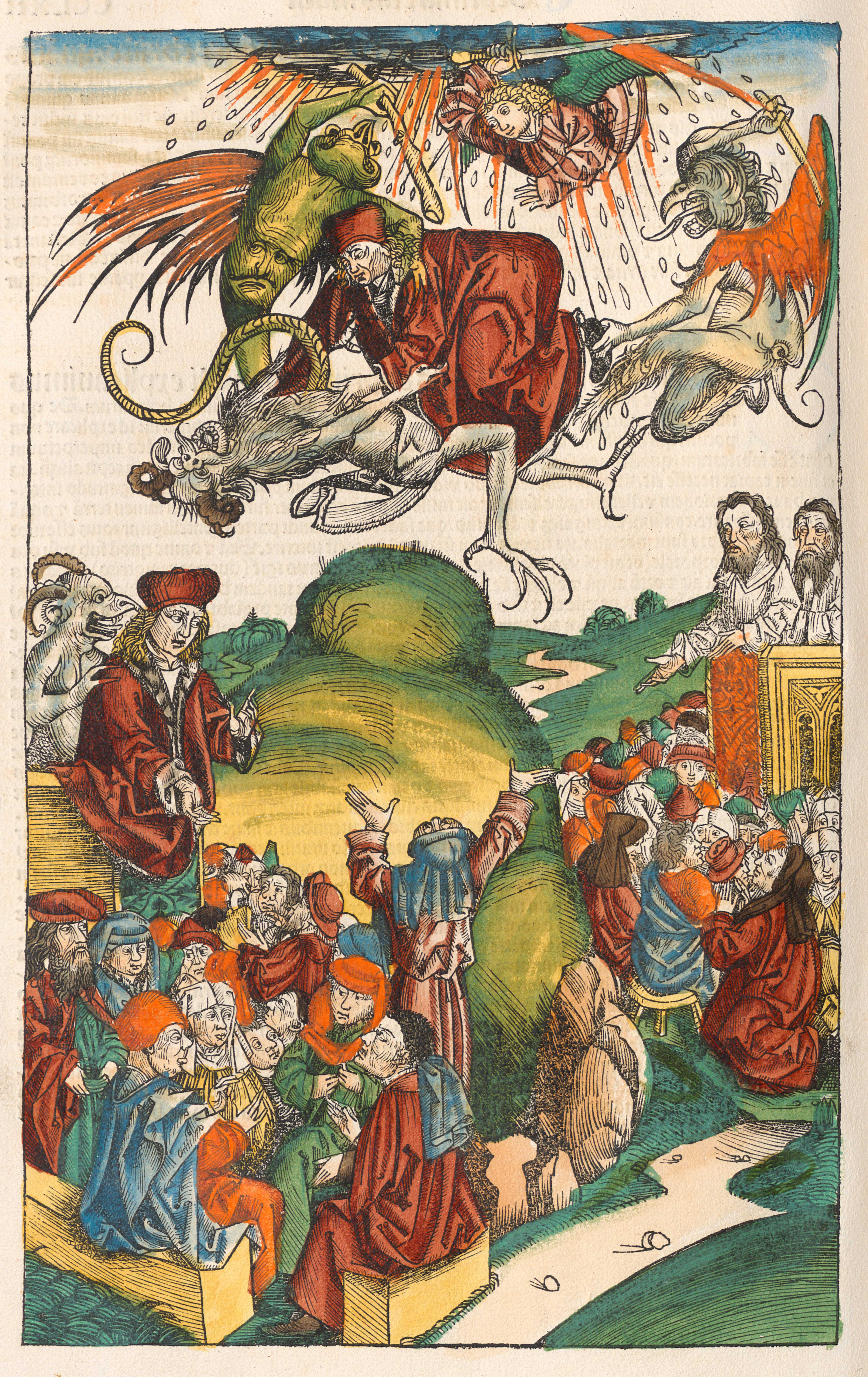 The death of Simon Magus, from the Nuremberg Chronicle or Liber Chronicarum, 1493