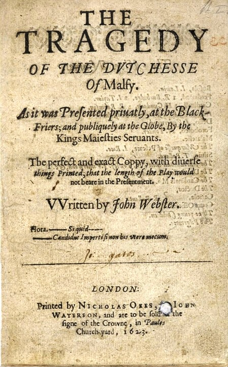 Title page of ''[[The Duchess of Malfi