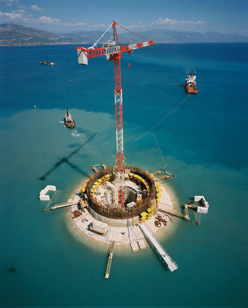 Pylon construction on the Rio–Antirrio bridge in Greece. Photo by GEFYRA – Nikos Daniilidis.