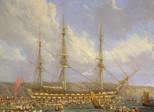 Oil painting of a three-masted sailing ship seen from side against a background of cliffs, with many small boats filled with people in the foreground.