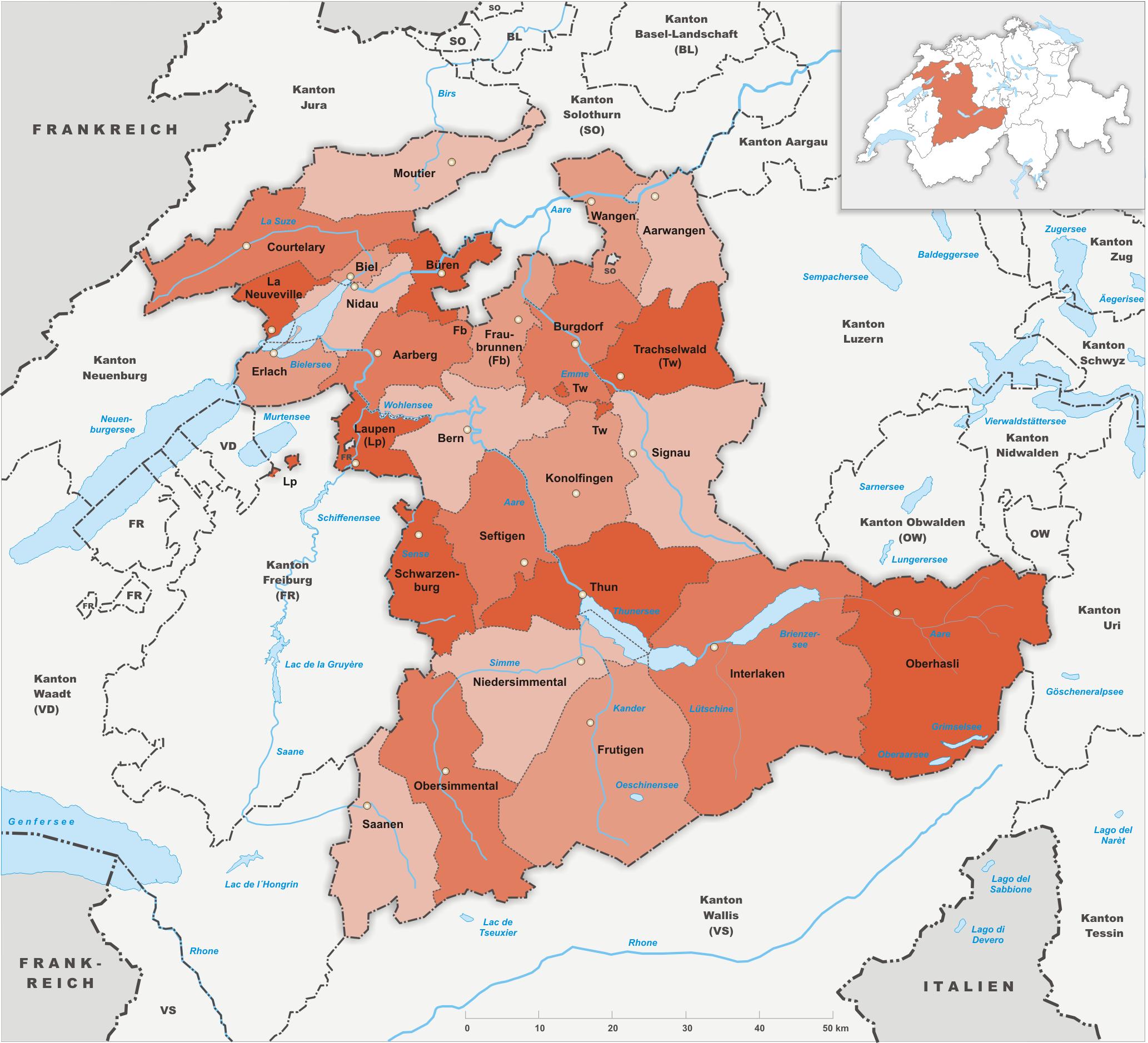 Amtsbezirke des Kantons Bern bis 2009