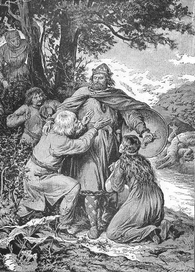 Le légendaire prince Krak avec le dragon mort en arrière plan. Dessin de Walery Eljasz-Radzikowski.