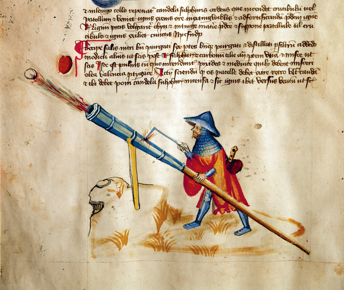 "Hand cannon being fired from a stand, ""Belli Fortis"", manuscript, by Konrad Kyeser, 1400 Lgehumble 1400.jpg"