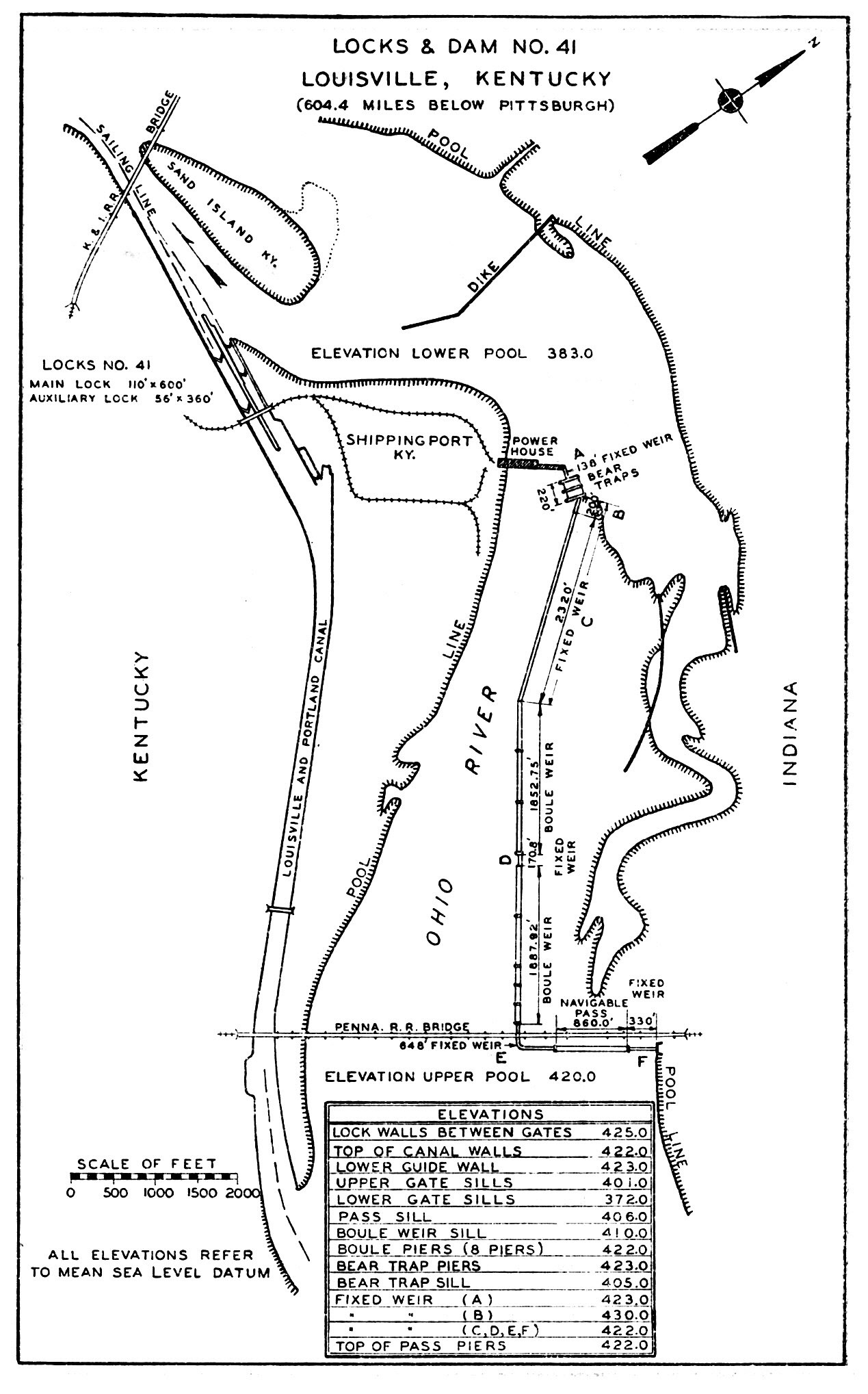 Diagram of Locks and Dam No. 41 (renamed McAlpine Locks and Dam in 1960), Portland Canal and Falls of the Ohio The dam then had a navigable pass and long