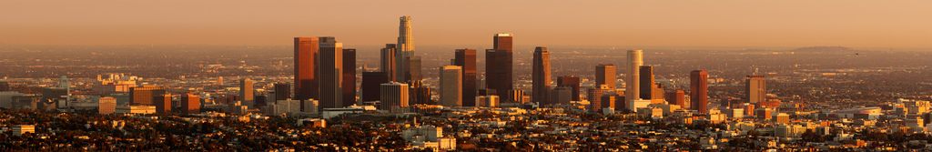 Los Angeles skyline during sunset as seen from behind the Observatory in Griffith Park in October 2006