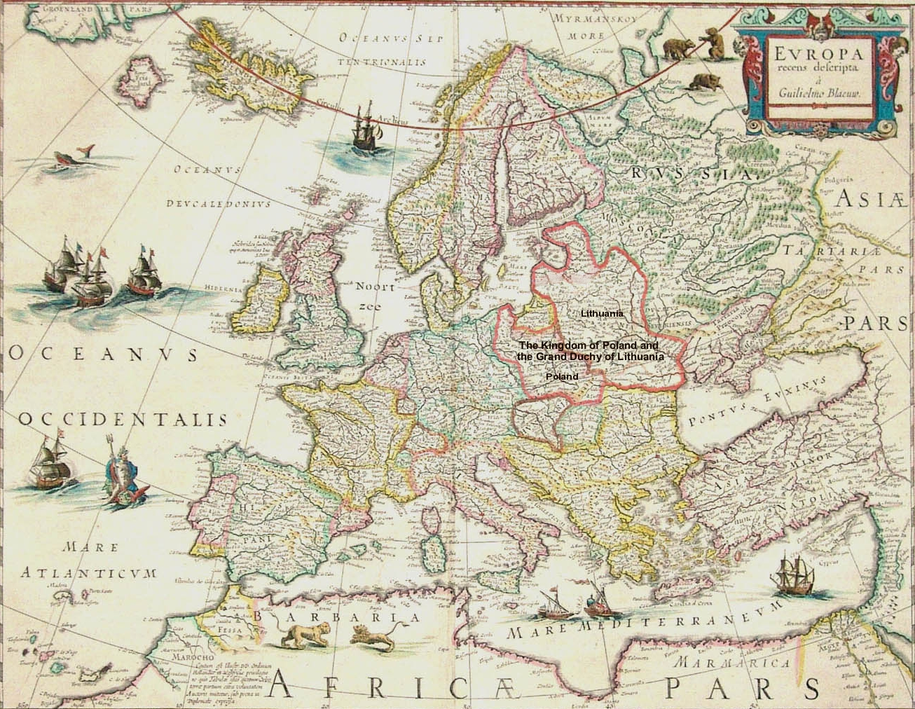 Map Of Europe Showing Poland And Lithuania 1561 1629 1306 X 1012