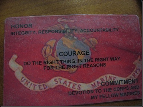 Culture of the united states marine corps wikipedia card given to recruits bearing the core values the marine corps bookmarktalkfo Gallery