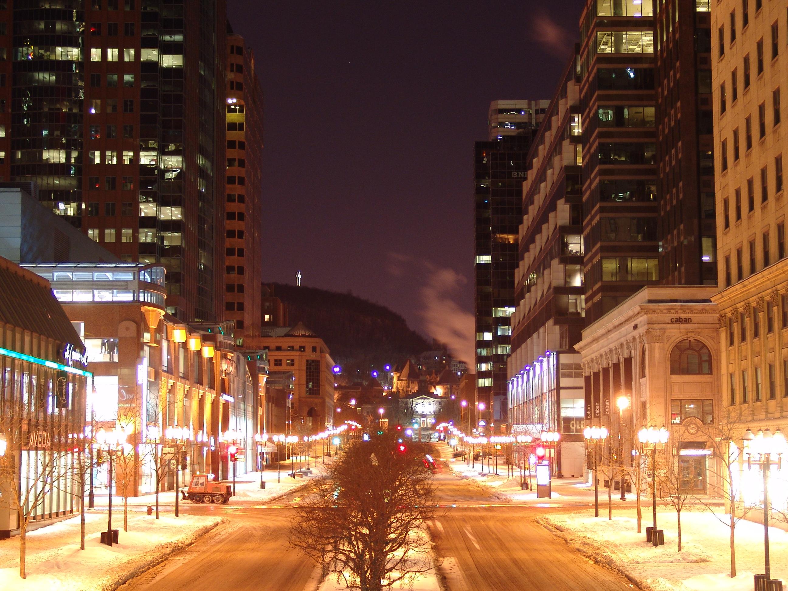 Mcgill College Avenue from below Saint-Catherine Street