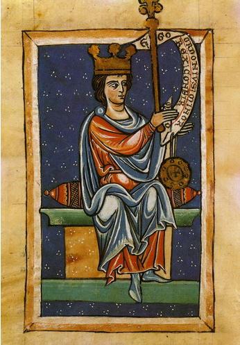 Ordoño III, según una miniatura medieval de la Catedral de León.