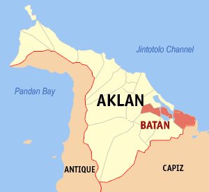 Map of Aklan showing the location of Batan