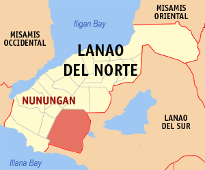 Map of Lanao del Norte showing the location of Nunungan