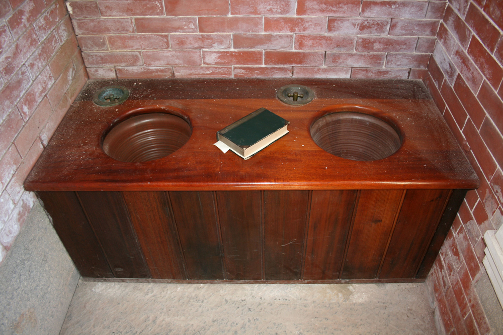 File:Reproduction flush toilets inside privy at fort delaware.jpg ...