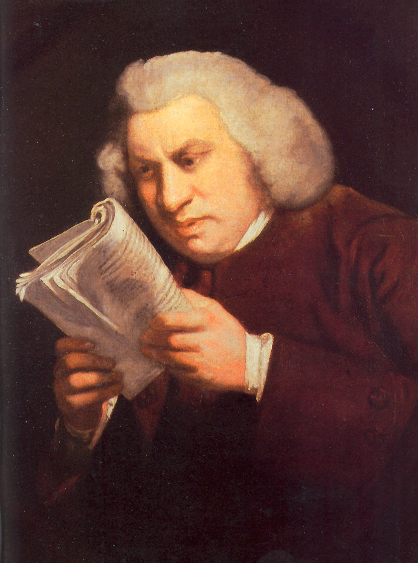 samuel johnson man staring intently at a book held close to his face