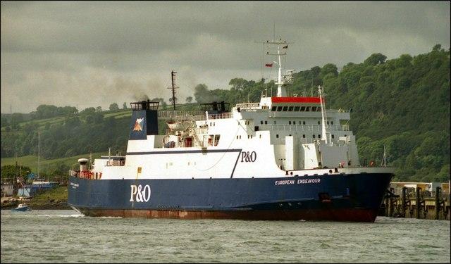 "The mainly-freight ferry ""European Endeavour"" departing Larne for Cairnryan 3/7/02."