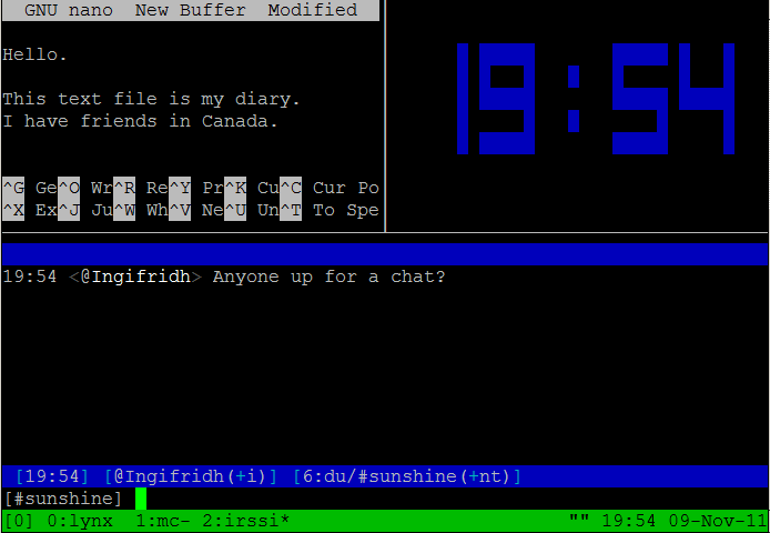 Image of tmux with split panes
