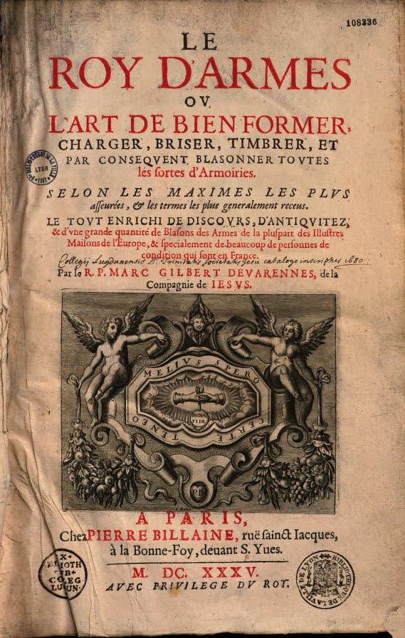 Inside cover of Le Roy d'armes (1635 edition) by Marc Gilbert de Varennes