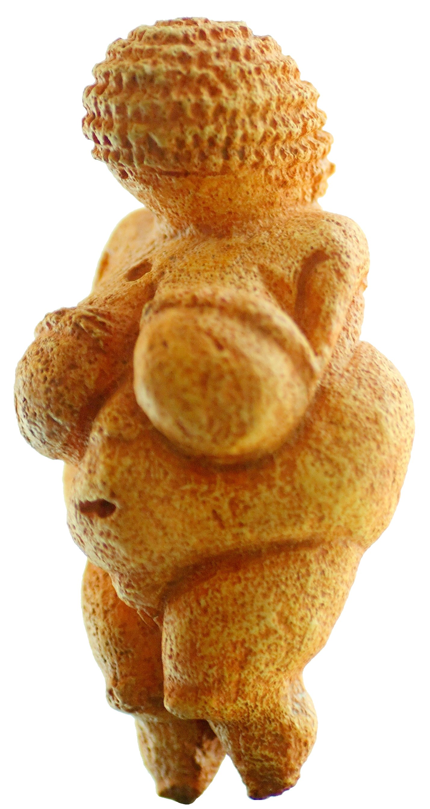 A carved stone miniature figurine depicted an obese female.