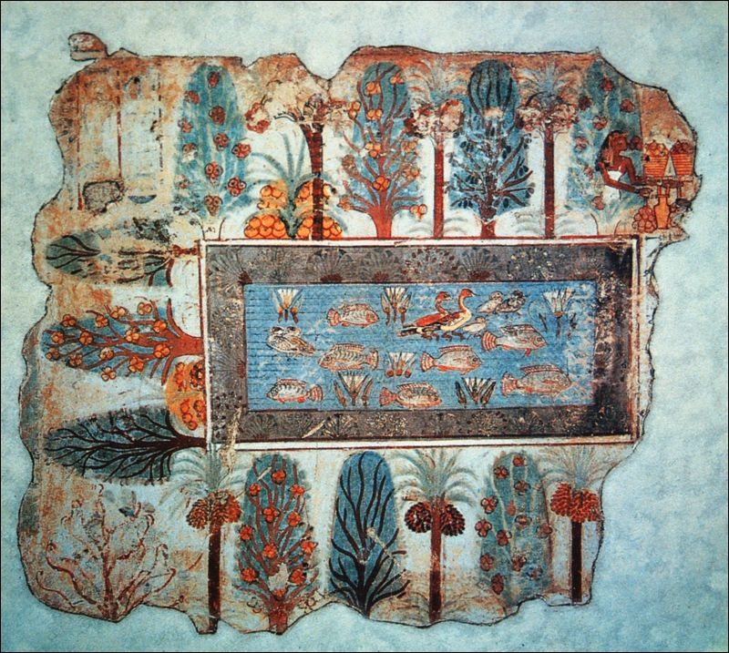 File pond in a garden fresco from the tomb of nebamun for Ancient egyptian mural