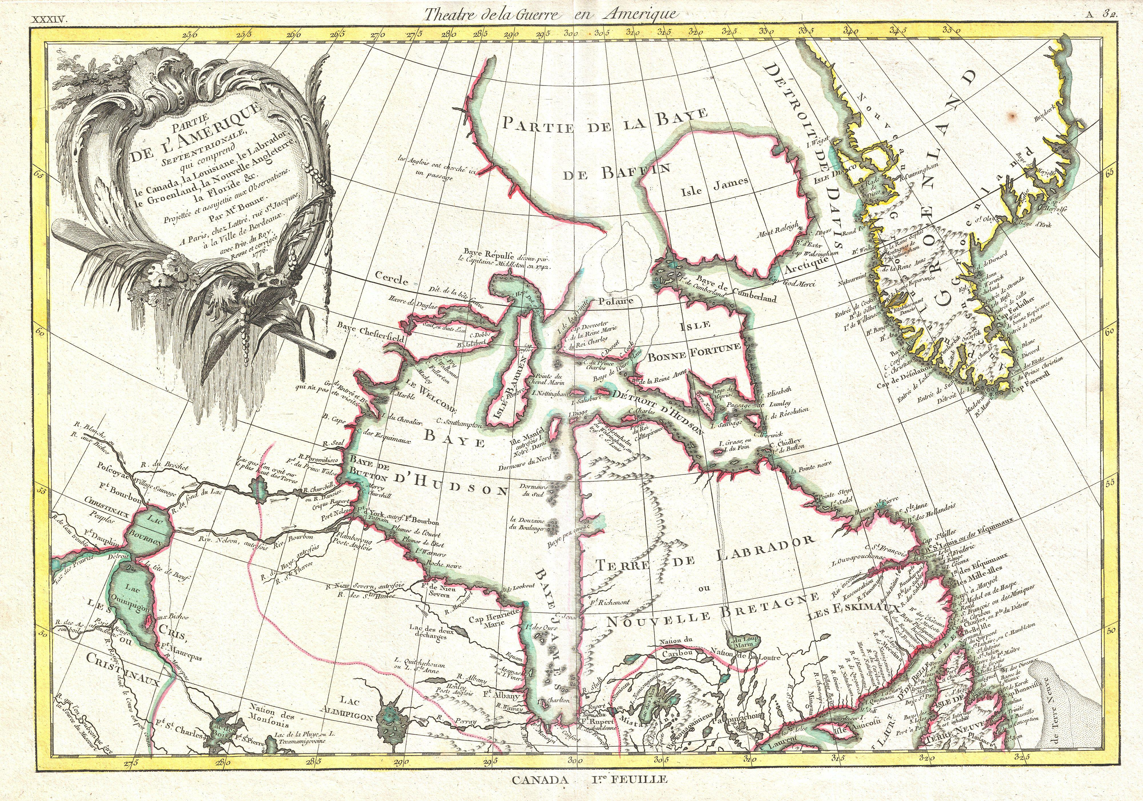 File:1776 Bonne Map of the Hudson Bay, Canada - Geographicus