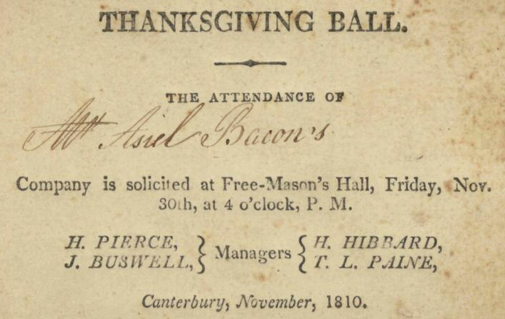 1810 Thanksgiving Ball Canterbury Connecticut
