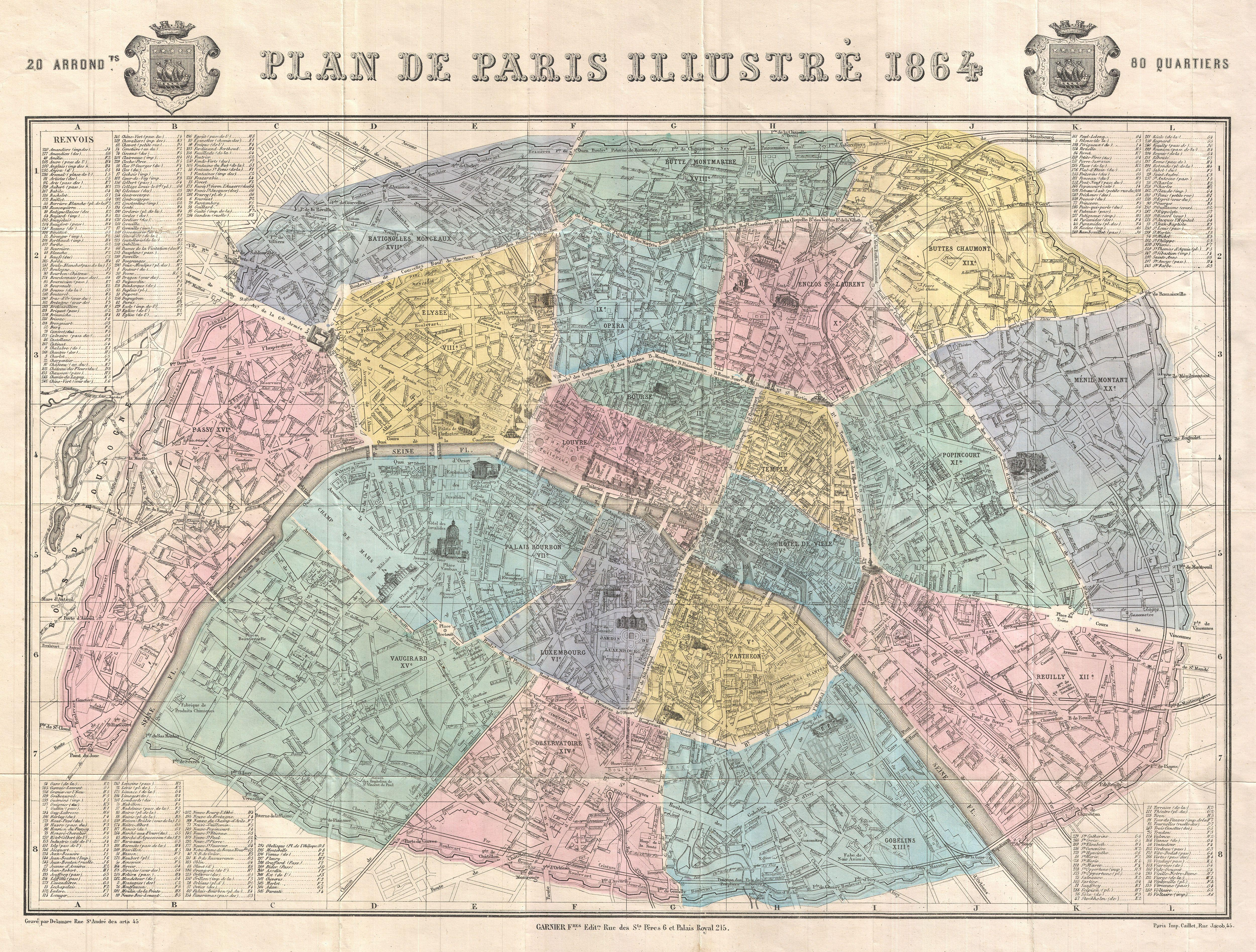 file1864 garnier map of pairs france w monuments geographicus paris