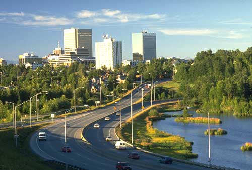 A view of the downtown Anchorage skyline.