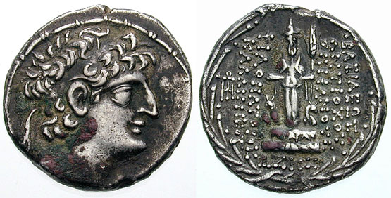Tetradrachm of Antiochus XII depicting the Semitic deity Hadad on the reverse Antiochus XII Houghton 864v.jpg
