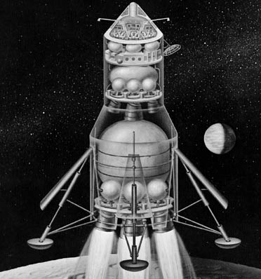 Early Apollo configuration for Direct Ascent and Earth Orbit Rendezvous, 1961 Apollo Direct Ascent.png