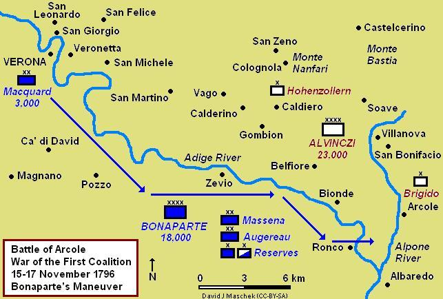 Bonaparte's maneuver from Verona to Ronco, 14-15 November 1796 Arcole 1796 Campaign Map.jpg