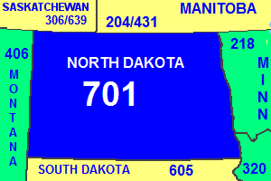 Map of North Dakota area code in blue (with border states and provinces)