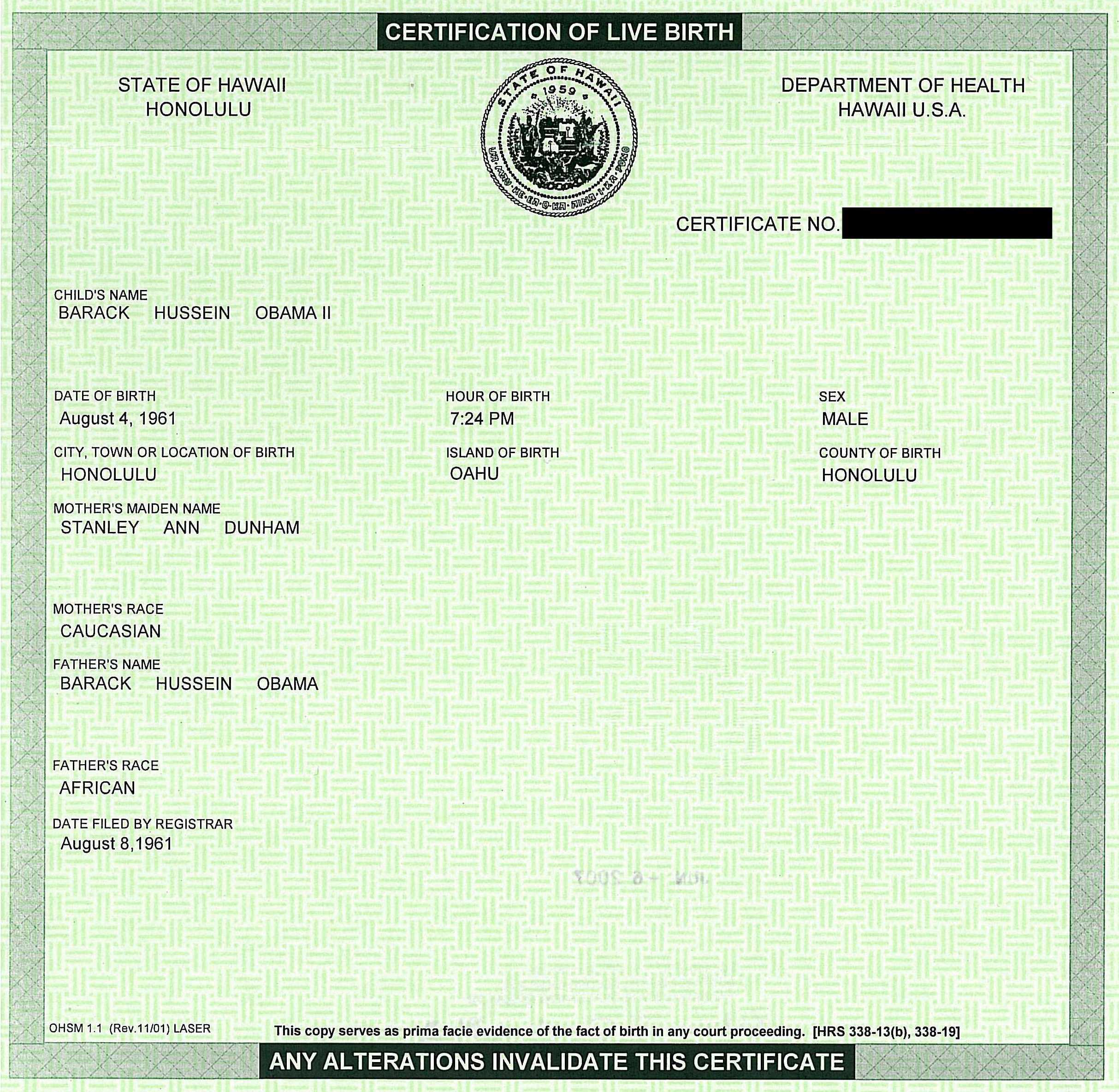 Who are the birthers cbs news certification of live birth here it is xflitez Images