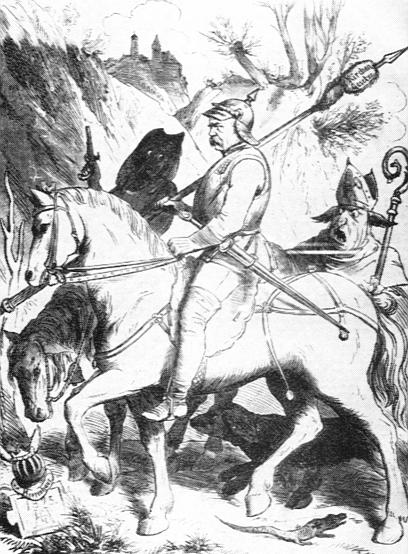Satirische Zeichnung in Berliner Wespen von Bismarck als Ritter in Anlehnung an Dürers Ritter, Tod und Teufel, 1875