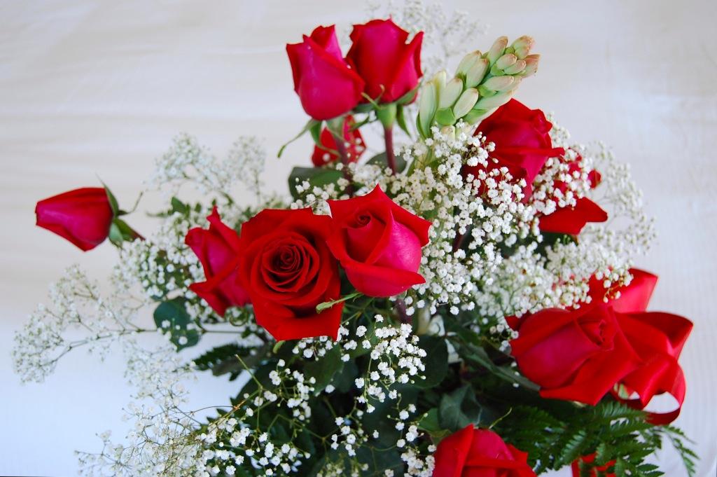 White Cake Red Roses