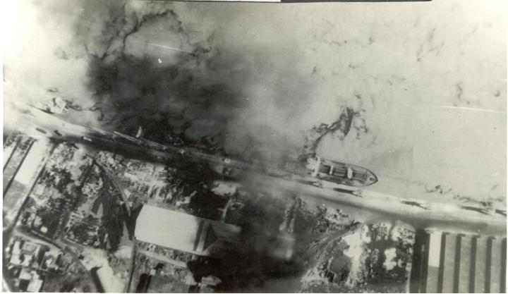 Burning Steamer at Narayan Ganj-Hunter Attack, 1971 Indo-Pak War.jpg