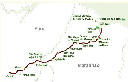A Estrada de Ferro Carajás (EFC) é uma ferrovia brasileira operada pela Vale S.A.. Possui 5 estações, 10 paradas e percorre ao todo 892 km ligando os municípios de São Luís, Santa Inês, Açailândia, Marabá e Parauapebas. É a maior ferrovia de transporte de passageiros em operação no Brasil, sendo no entanto especializada no transporte de minérios, que correm das minas da Serra dos Carajás em Parauapebas, Canaã dos Carajás e Marabá, até os portos da Baía de São Marcos. Informação e mapa: Wikimedia