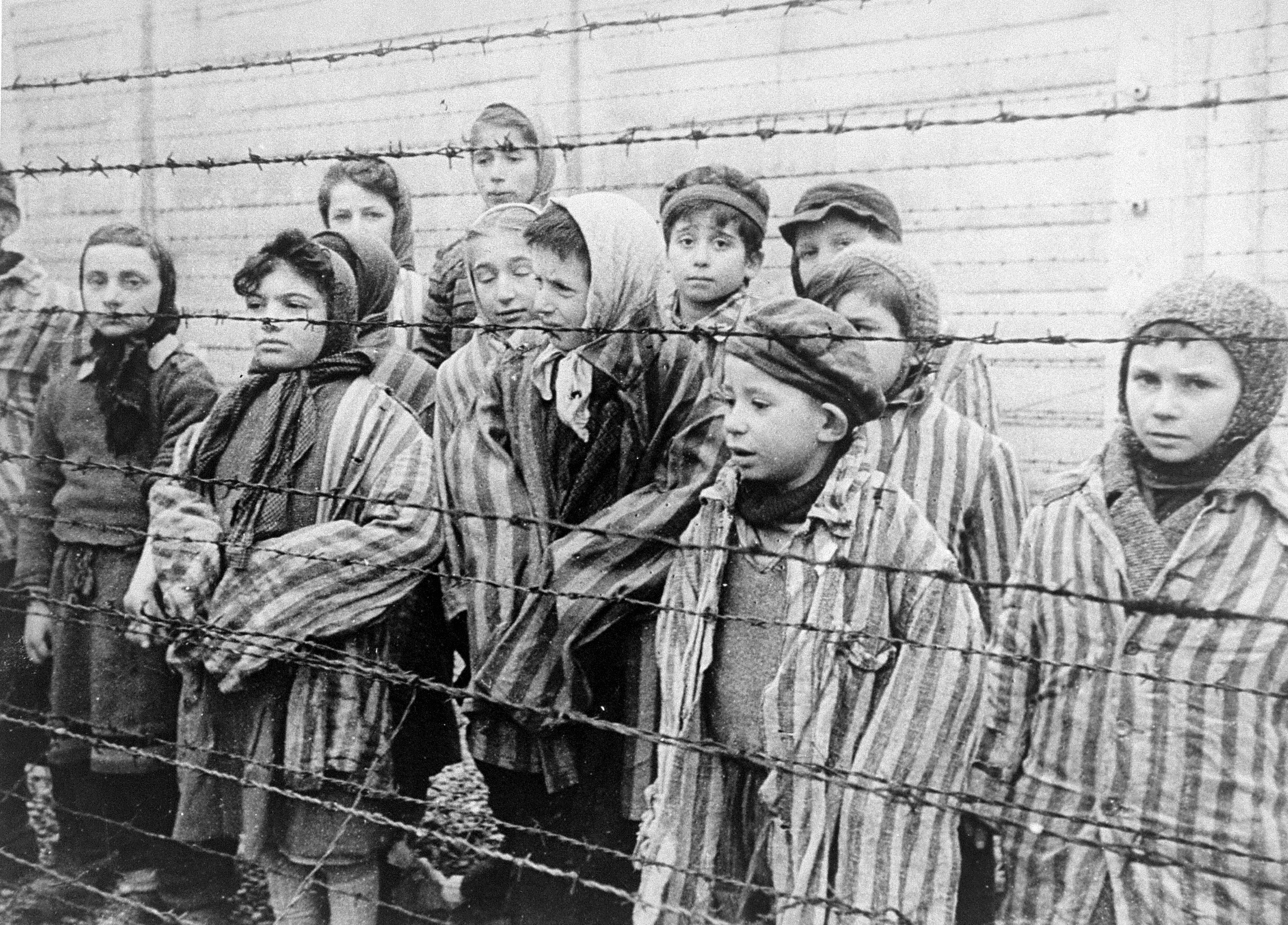 Jewish twins kept alive to be used in Mengele's medical experiments. These children were liberated from Auschwitz by the Red Army in January 1945.
