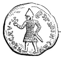 A coin depicting an armed man holding a sword