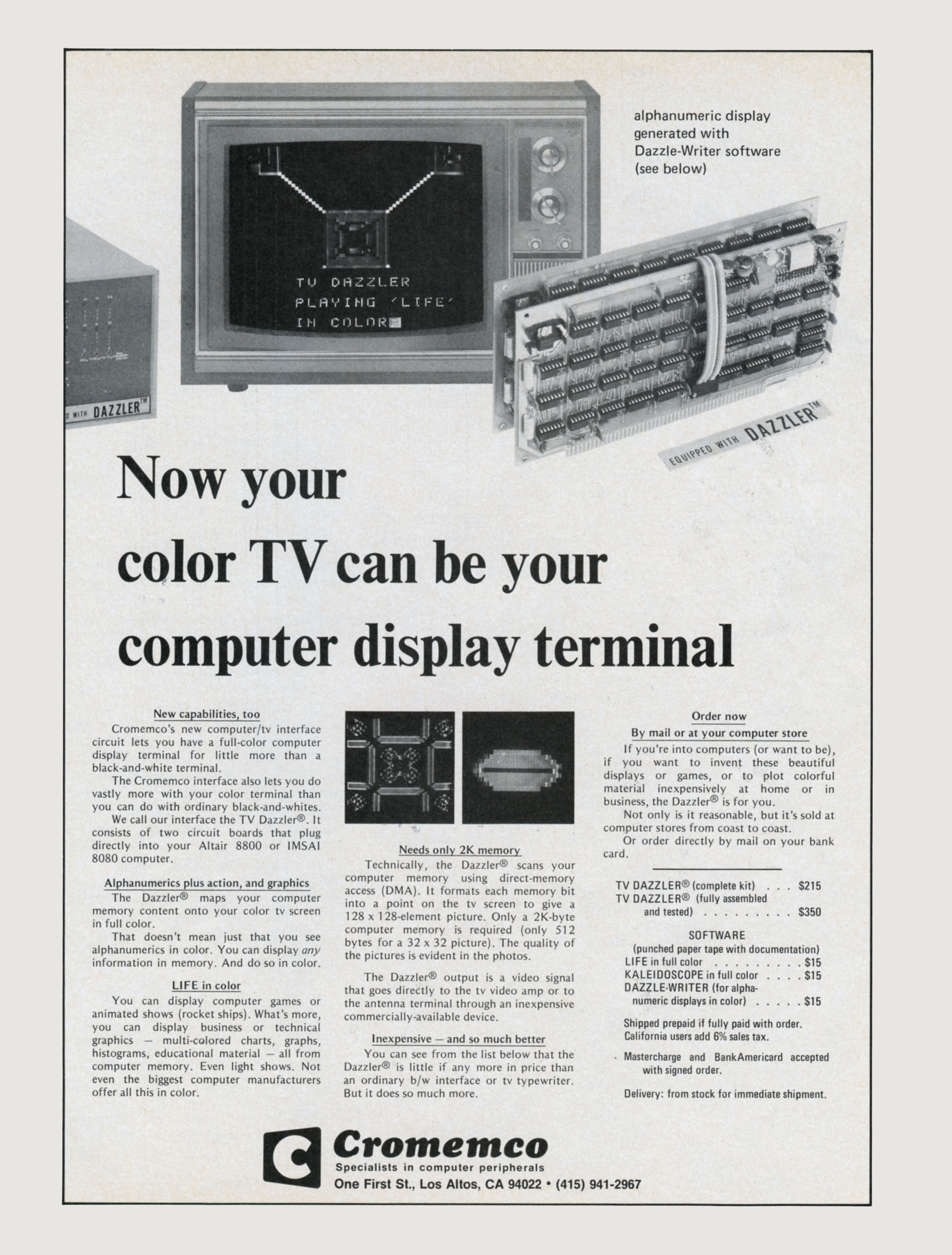 Cromemco Dazzler Wikipedia Found Schematics Lcd Monitor Diagram A Kb Diagrams