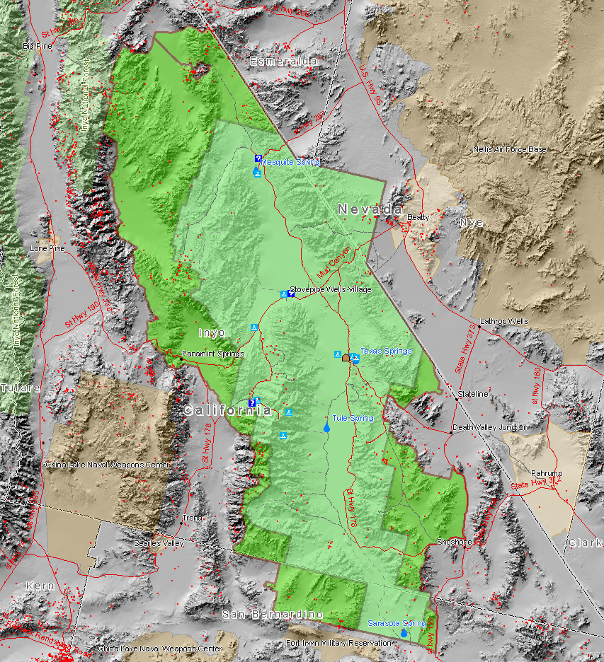Death Valley National Park map showing old