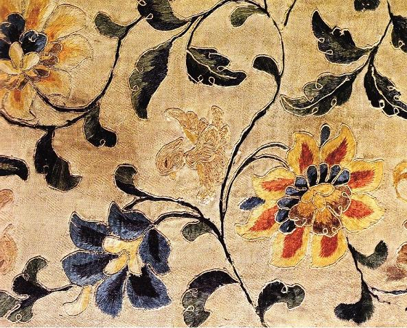 Detail of embroidered panel from Mogao cave 17. Tang Dynasty.